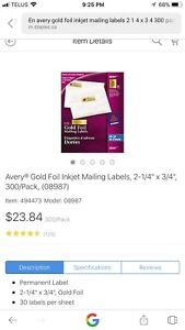 Avery Gold Foil Mailing Labels
