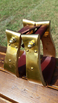 "2"" Brass Monel Bell Ranch Roping Cutting Saddle Stirrups"