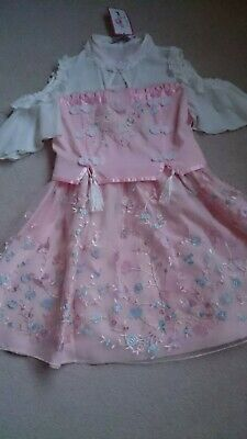 Women Teen Candy Rain Pink Embroidered Floral Dress Size S UK Size...