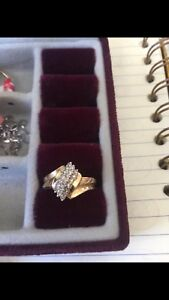 14k gold diamond cluster ring (firm price $