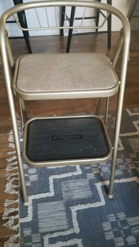 Vintage DURHAM step stool with covered seat immaculate condition!
