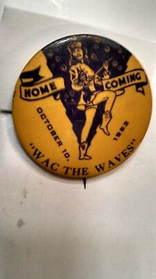 Vintage Collectible Button PinBack Red Lake Falls MN Homecoming 1952 WacTheWaves