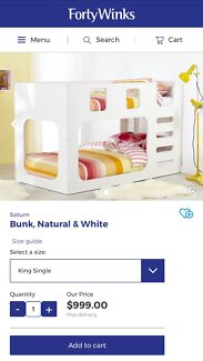 """""""Saturn"""" Forty Winks White Bunk Bed - king single"""