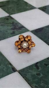 Pretty Vintage 1950s Citrine Rhinestone & Pearl Flower Ring New Lambton Newcastle Area Preview