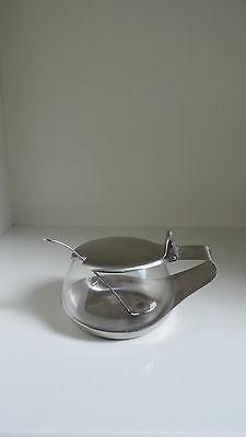 WMF Cromargan,Glas,Senftopf + Löffel,Entwurf Kurt Radtke,50er Jahre