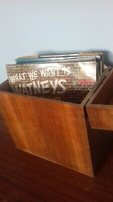 Original vintage wooden record/vinyl storage box/case