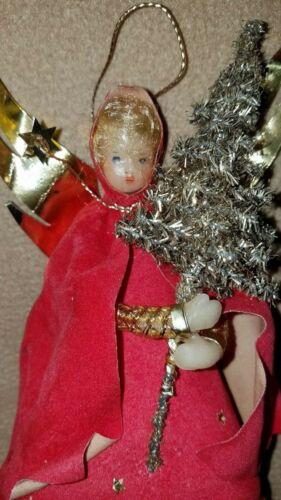 Antique Wax Head & Hands Angel Ornament/Tree Topper W/Tinsel Tree