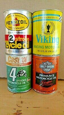 Vintage 4 Unopened Full Motorcycle Oil Cans Harley, Pennzoil, Castrol, Viking,