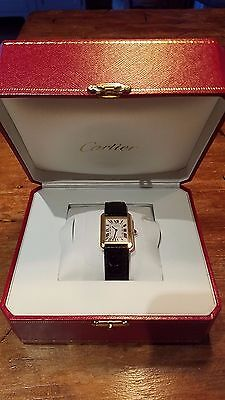 100% Auth Cartier Tank Solo Black Leater W5200002 Watch Women SM 18K yellow gold