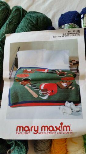 "Mary Maxim SPORTS Knit Kit ~ #3115 ~ 48"" x 60"" ~ Mellowspun Yarn"