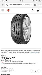 Two used Pirelli winter tires 245/40/R18 50$/each