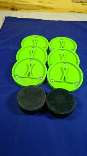 6 Off Ice EZPucks and 2 Regulation Hockey Pucks