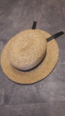 Traditional Vintage Straw Boater Hat with Silk Ribbon Trim