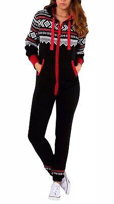 Skyline Wears Adult Women's Onesy BodySuit Zip Pajama Hooded BLK Playsuit MEDIUM