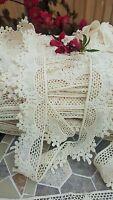 1m Vintage Cotone Crochet Pizzo Bordo Crema/avorio Nastro Matrimonio/ -  - ebay.it