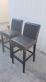 Brown Leather Stool x2