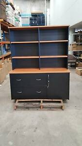 BLACK CREDENZA w/HUTCH storage work reception storage cabinet Murarrie Brisbane South East Preview