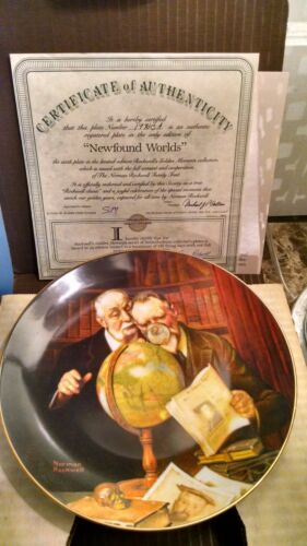 NORMAN ROCKWELL COLLECTOR PLATE - NEWFOUND WORLDS- W/COA  AND BOX