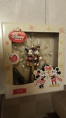 DISNEY STORE TREE TOPPER MICKEY AND MINNIE SNOWFLAKE LIGHT UP Battery operated  ()