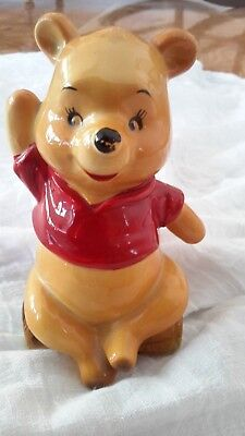 "Winnie The Poo Walt Disney Productions Signed Figurine 5"" Tall Winnie Poo on log"