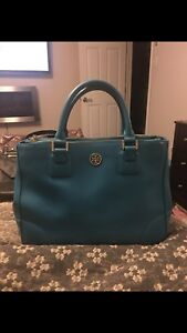 Teal blue leather Tory Burch Robinson bag