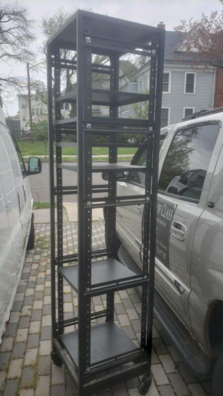 "7FT 42U Open Frame Server Network Rack 19"" Deep 4 Post 3 paris L rails & shelves"