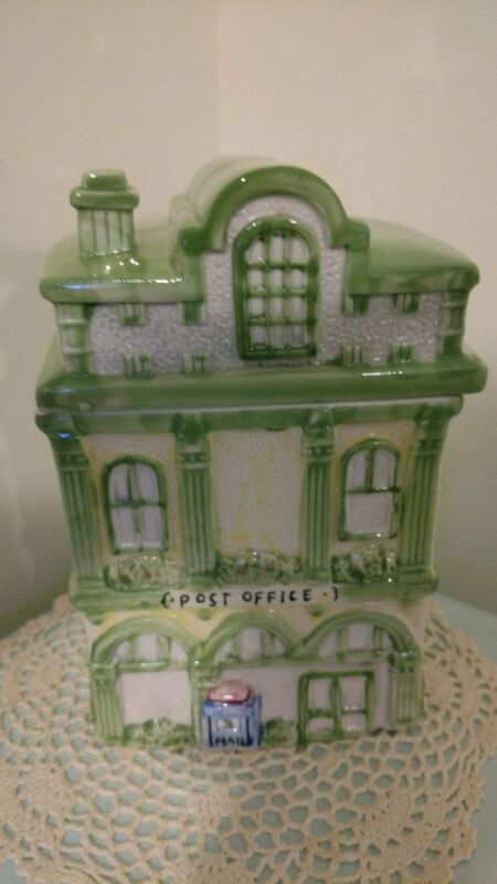 Ceramic Cookie Jar Post Office 3-story green