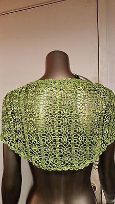 NWT UNIFORM Crochet Beaded Lime Green Poncho Shawl Caplet Retail $42.00