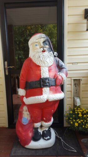 """Vintage blow mold large lighted out door Santa figure 60"""" 5ft tall"""