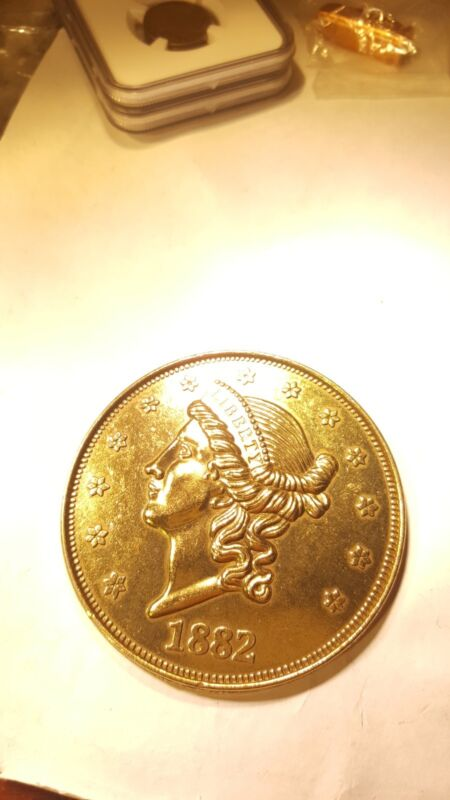 Large 3 Inch Novelty Medal/Coin/Coaster/Paperweight 1882 $20 Liberty Pewter