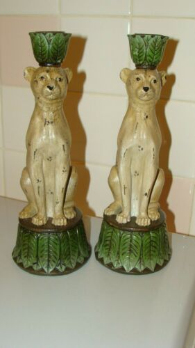 """RARE Beautiful Resin Pair of Leopard Candle Holder 9.6"""" tall x 3.5"""" in diameter"""