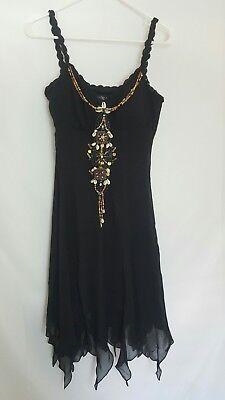Beaded Handkerchief Hem Dress - Sue Wong black 100% silk beaded handkerchief hem dress size 8