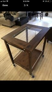 Real wood and glass serving cart
