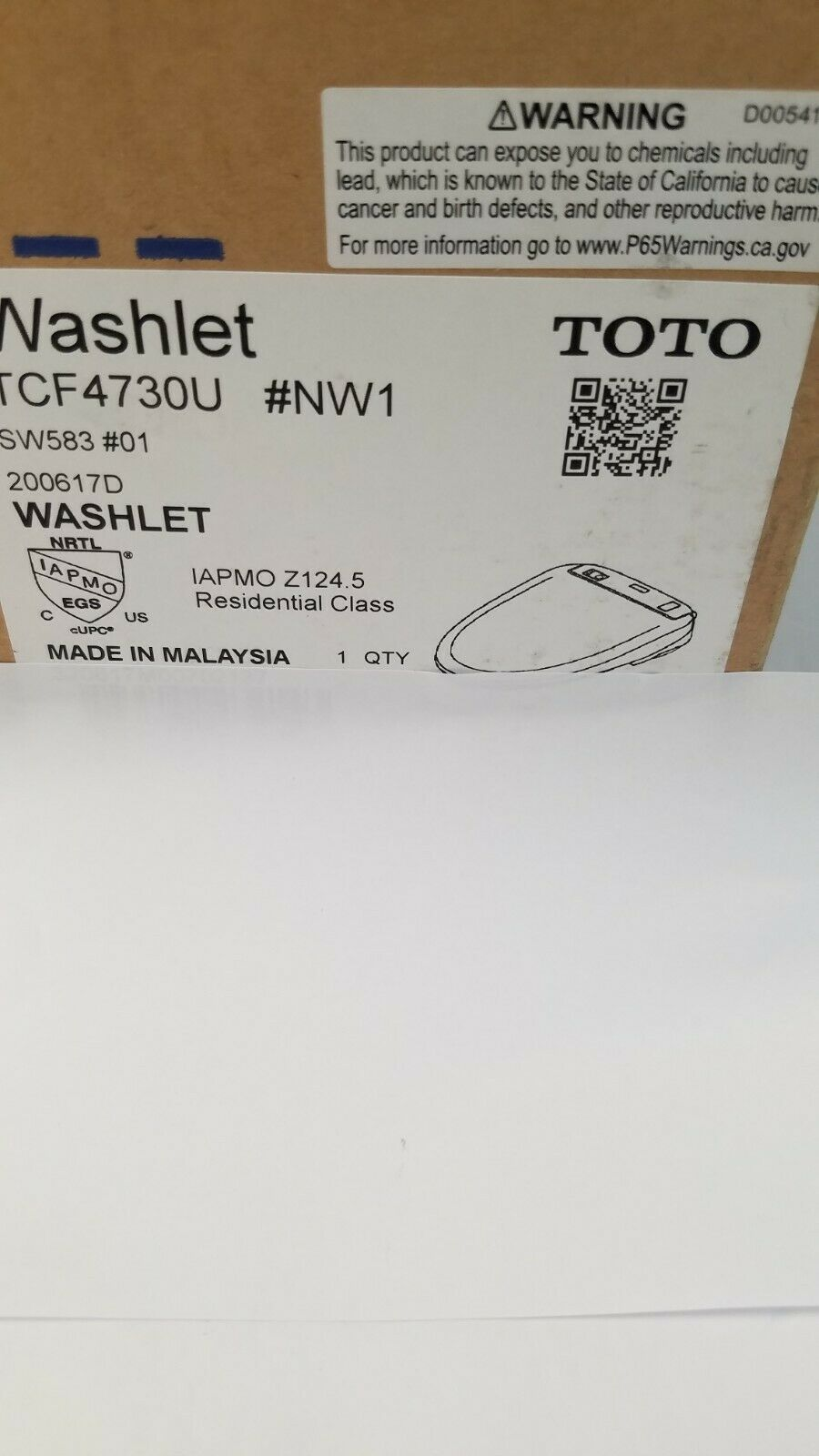 TOTO SW583#01 S350E Electronic Bidet Toilet Seat with Cleans