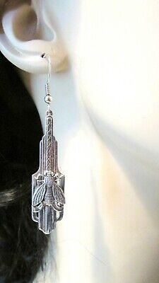 1920s Art Deco Jewelry: Earrings, Necklaces, Brooch, Bracelets Art Deco STYLE  Earrings SILVER BEE Earrings Long Dangle earrings Napoleon Bee  $27.00 AT vintagedancer.com