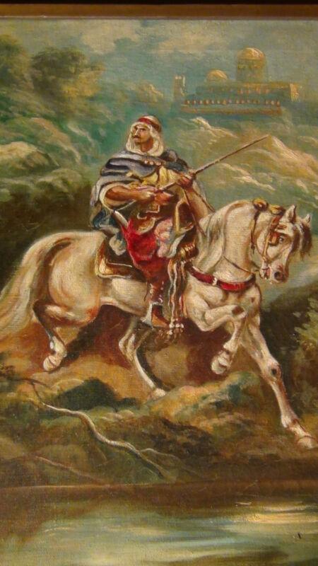 "William M. Lemos (1861-1942,california)""arab On Horseback""original Oil On Canvas"