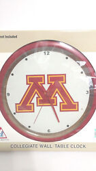 Minnesota Golden Gophers Glass Wall or Desk Clock New in Box Battery Included
