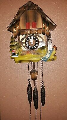 Vintage Black Forest Cuckoo Clock Chalet Waterwheel Musical German