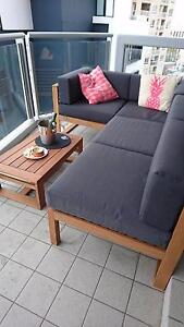 5 PIECE OUTDOOR SOFA SETTING - TEAK FINISH Potts Point Inner Sydney Preview