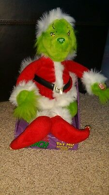 Dr Suess Plush Grinch Animated Singing  Plush Santa costume  2000 NIB - Dr Suess Costume
