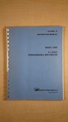 Data Precision Model 3400 4 12 Digit Programmable Multimeter Manual 7e B3