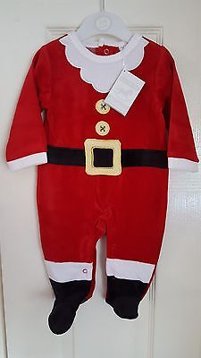 Soft Velour Baby First/1st Santa Claus/Father Christmas Suit/Outfit/Sleepsuit