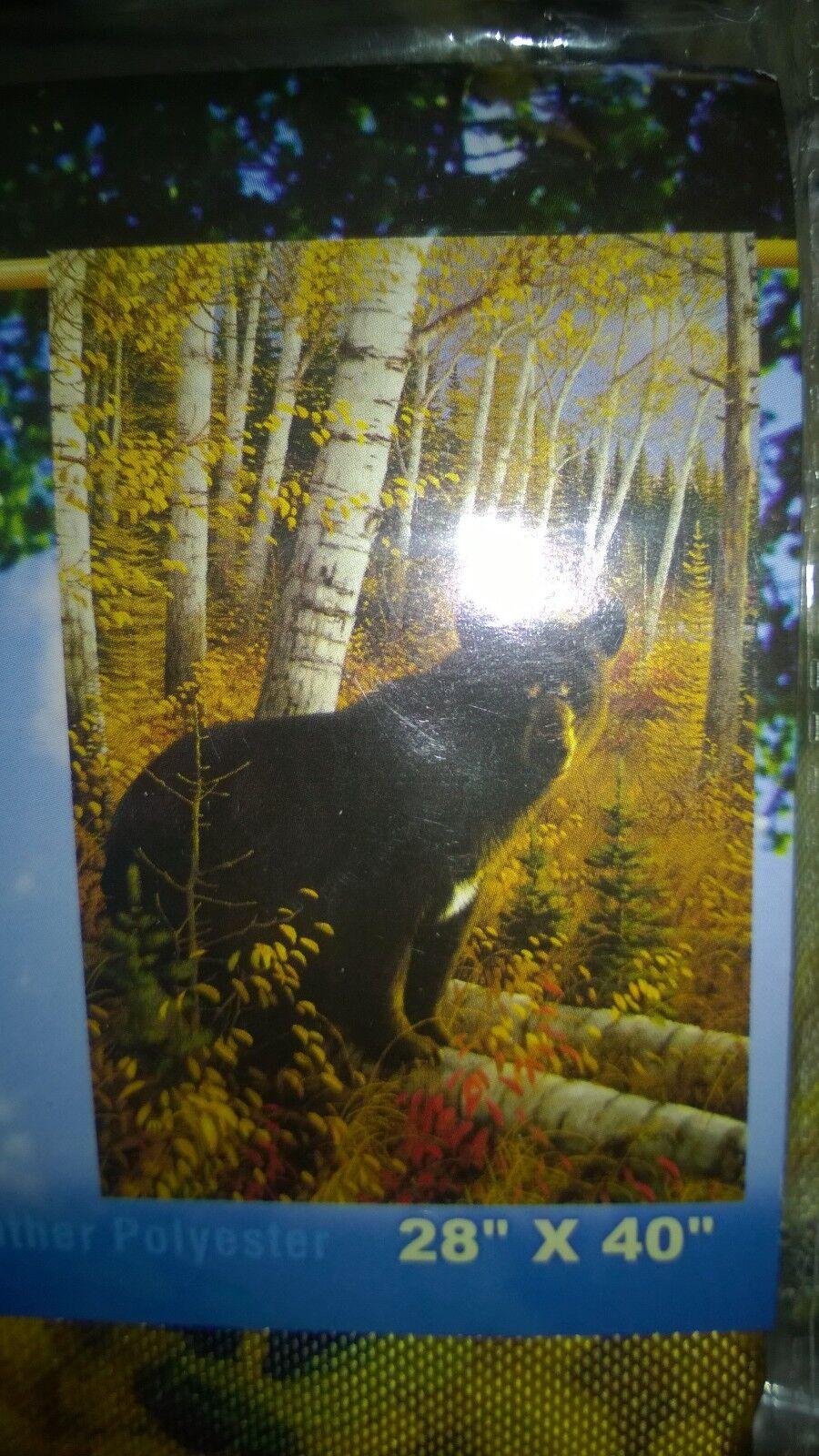 "New Wildlife Bear Yard Flags 28"" x 40"" Breeze Art Solar Silk"