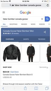 New with tags Canada goose faber bomber 400 obo
