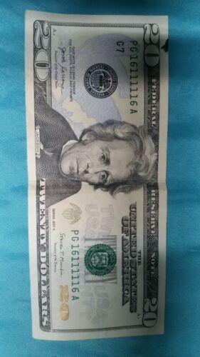 20 Dollar Bill Serial Number Pg 16111116 A - $21.00