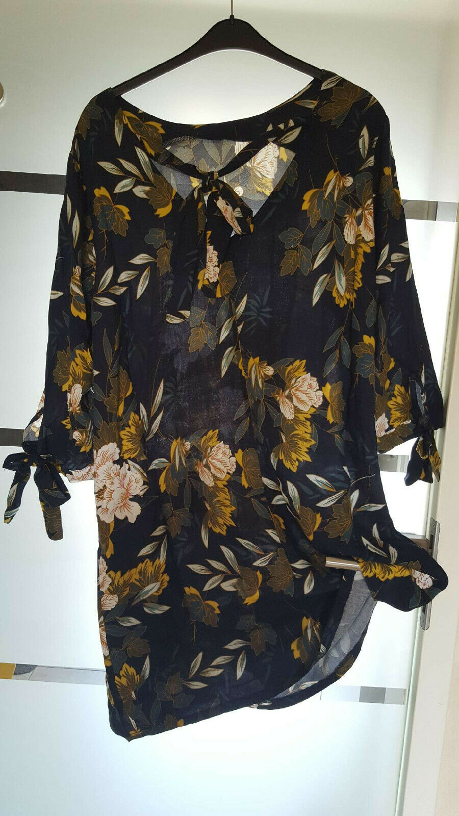 Boho Damen Kleid Sommer Blumen blau Longshirt Tunika Bluse Hemdkleid 36 - 54 neu