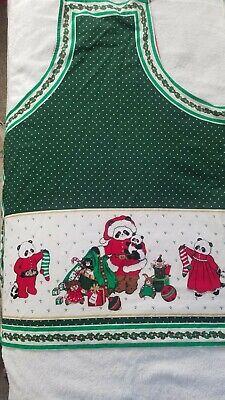 Vintage Aprons, Retro Aprons, Old Fashioned Aprons & Patterns Vintage Christmas Handmade Pandas and Holly Apron  $4.00 AT vintagedancer.com