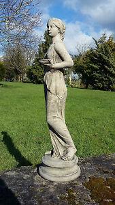 STONE GARDEN BEAUTIFUL GREEK LADY STATUE - ROMAN WOMAN GIRL ORNAMENT FIGURE