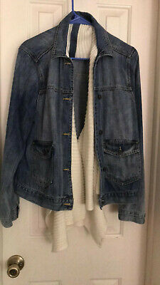 Abercrombie & Fitch Womens Jean Jacket Sweater Scarf Front Detail Sz XL FREE SHP