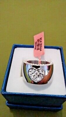 Austrian Crystal Stainless Steel Heart Cigar Band Ring Sz 7  Austrian Crystal Heart Ring